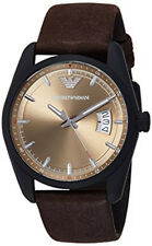 e6ea7bd9581 Emporio Armani AR6081 Beige Dial Brown Leather Strap Men s Watch