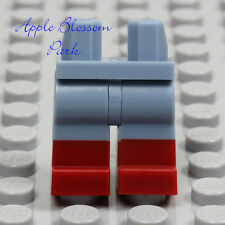 NEW Lego Sand BLUE MINIFIG LEGS - Male/Female Lower w/Dark Red Boots Girl Shoes