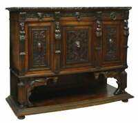 Antique Sideboard Italian Renaissance Revival Marble-Top, Early 1900s, Gorgeous!