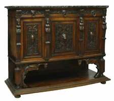 ANTIQUE ITALIAN RENAISSANCE REVIVAL MARBLE-TOP SIDEBOARD, early 1900s