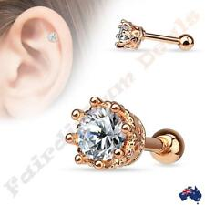 Surgical Steel Vintage Style Prong Set CZ Rose Gold Plated Tragus/Cartilage Stud