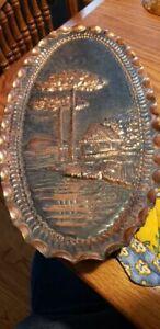 """MCM All Copper Crimped Edge Oval Plaque -Trees & Hut Scene -15"""" x 8""""-Hanger"""