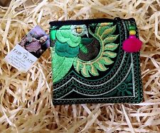 EMBROIDERED POM POM COIN PURSE PEACOCK GREEN