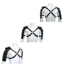 US Mens Faux Leather Adjustable Buckle Shoulder Strap Chest Harness Armor Tights