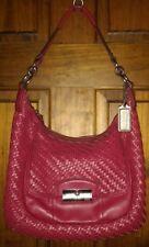 Coach Kristin Woven Leather Hobo Shoulder Bag Handbag 19314 Red