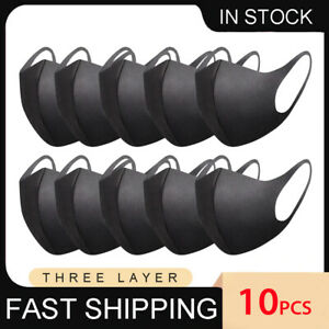 10pcs Earloop Face Covering Washable Reusable Anti Dust Mouth Mask STRONG Black