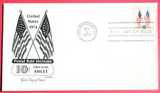US  Scott #1509  CROSSED FLAGS Rate increase    Art-Master FDC 1973