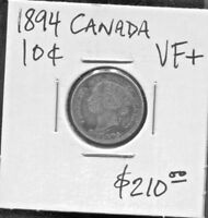 CANADA - BEAUTIFUL HISTORICAL QV SILVER 10 CENTS, 1894 (GREAT DATE,) KM# 3