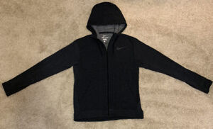 Men's Nike Dri-Fit Full Zip Training Hoodie Jacket - Gray/Black - Medium