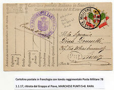 STORIA POSTALE 1917 REGNO CARTOLINA POSTALE MILITARE IN FRANCHIGIA Z/2676