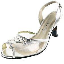 PROM Bettie Page BARNETT Women 12 M Silver Clear Peep Toe Sling Back Pumps Heels