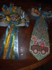 Baby shower jungle safari Mommy To Be  pin on corsage and tie