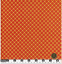 Quilting Fabric Dark Orange Diamond Shapes Yellow Stripes Gold Met FQs | OP1
