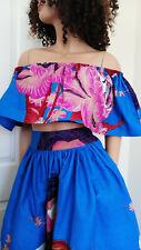 'Blue Demona' Woman African Print Off-Shoulder Top 100% Wax Cotton Handmade UK