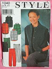 Uncut Style Misses 6-16 Jogger Style Pants Skirt & Box Quilted Vest Pattern 1040