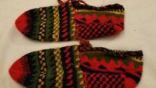 Hand Knitted Women Socks Slippers Patik Shoe Size 6 7 red green gift warm feet