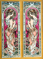 ART Nouveau tile Pannello decorativo con 3 Piastrelle Borgogna Art Nouveau Lady Made in UK