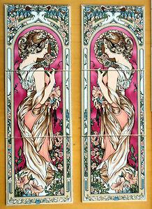 Art Nouveau Tile Panel Decorative 3 Tiles Burgundy Art Nouveau Lady Made in UK