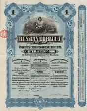 RUSSIA THE RUSSIAN TOBACCO COMPANY stock certificate 1915 , 1 SH, W/COUPONS