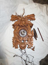 vintage cuckoo clock black forest large stags head & game rabbit grouse