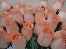 24 Peach Wooden Roses Wholesale Artificial Flowers Wedding Crafts Home Decor