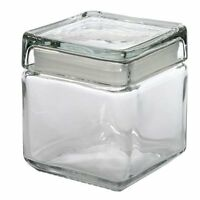 Anchor Hocking Glass Square Stacking Jar Container with Lid Coffee Tea Sugar