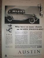 Austin twelve six motor car for 198 pounds 1932 old advert