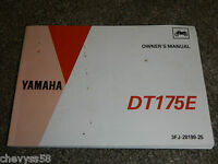 1993 93 YAMAHA DT175E DT 175 OWNER OWNERS OWNER'S MANUAL
