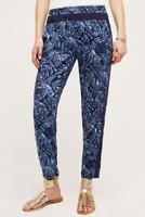 Anthropologie Hei Hei Blue Batik Maree Joggers Drapey Pull-On Pants L 12 14
