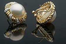 Mabé Pearl and Diamond Earrings, 10.88 gms 14K YG and .72 cts of Diamonds!