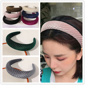 Women's Velvet Headband Padded Hairband Wide Sponge Hair Hoop Hair Accessories