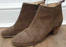 SEVEN BOOT LANE Camel Tan Suede Wooden Stack Black Heel Ankle Boots 39 UK6