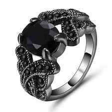Black Sapphire Wedding Ring Oval GemBlack Rhodium Plated Party Jewelry Size 7