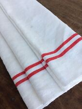 Vtg French Roller Hand Aga Tea Towel Cotton Linen Red