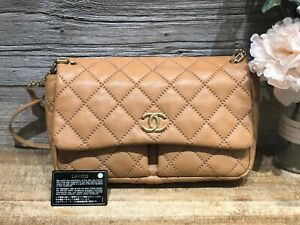 AUTH CHANEL CAMEL STITCH IT DOUBLE FLAP QUILTED CALFSKIN CHAIN CROSS BAG GOLD HW