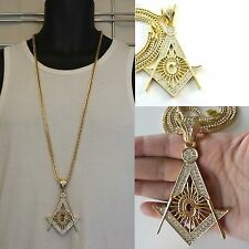 """Mens Gold Finish Masonic Cubic Zirconia Pendant With 36"""" Franco Chain Necklace"""