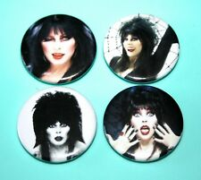 SET OF 4 ELVIRA MISTRESS OF THE DARK GOTH GOTHIC STYLE BUTTON PIN BADGES