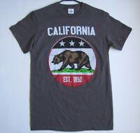 NEW~ CALIFORNIA REPUBLIC EST.1850 Cali Bear Grey T-Shirt S Tee Top CA Flag Star