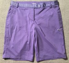 Womens PUMA Cell Polyester Golf Shorts Snap Adjustable Waist Flat Front Sz 12 H2
