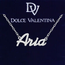 925 Sterling Silver ARIA Name Necklace Womens Girls Pendant Gift Ready Stock