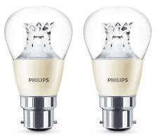 2 x Philips Warm Glow LED B22 Bayonet 40w Dimmable Mini Globe Light Bulb 470lm