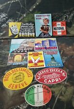 10pc Vtg Luggage Label Lot Trunk Travel Decal Sticker Rome Geneve Italy Germany