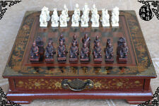 32 pieces chess,CHINESE Terracota Warrior,wood GIFT box set Qin Army Table game