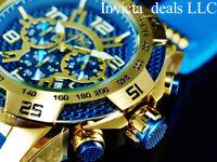 NEW Invicta 50mm Men's SPEEDWAY VIPER II SAPPHIRE BLUE DIAL Gold Tone SS Watch