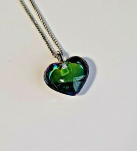 Baccarat Sterling Silver Blue Rainbow Crystal Heart Pendant 925 Necklace Scarab