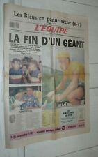 JOURNAL L'EQUIPE 19-11 1987 MORT JACQUES ANQUETIL CYCLISME CICLISMO TOUR FRANCE