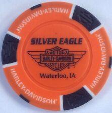 WATERLOO, IA SILVER EAGLE HARLEY DAVIDSON POKER CHIP (ORANGE & BLACK) IOWA