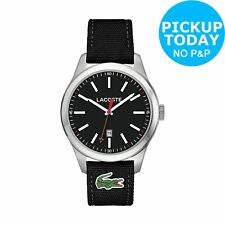 Lacoste 2010778 Men's Auckland Black Silicone Strap S/Steel Analogue Watch