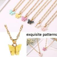 Kawaii Clavicle Chain Sweet Candy Colors Acrylic Pendant Butterfly Necklace New