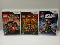 Lot of 3 Nintendo Wii Lego Games - Batman, Star Wars, Indiana Jones